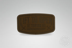 LEATHER PATCH - LIFT TO OPEN / DARKBROWN