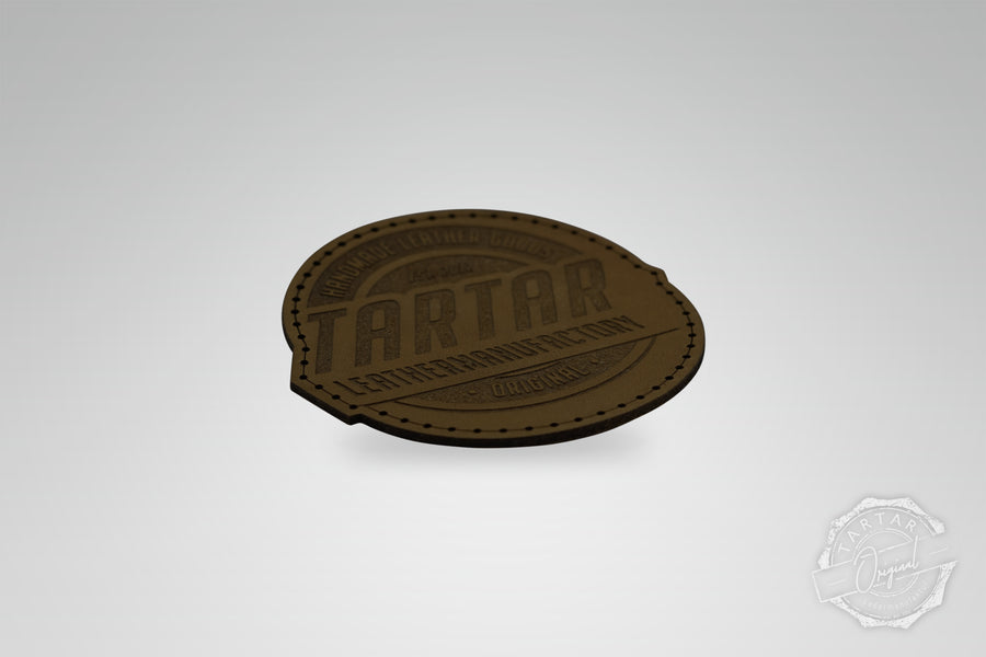 LEATHER PATCH - LEATHERMANUFACTORY RUND DARKBROWN