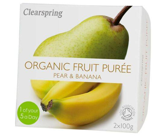 Clearspring Pear & Banana Fruit Puree 100g x 2