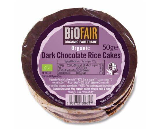 Biofair Dark Chocolate Rice Cakes - Fairtrade [50g]
