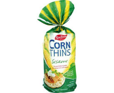 Real Foods Sesame Corn Thins 150g