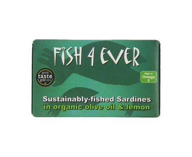 Fish 4 Ever Whole Sardines In Organic Olive Oil And Lemon 120g