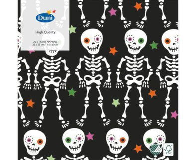 Duni 33Cm 3Ply Skeletons Black Napkins 20s