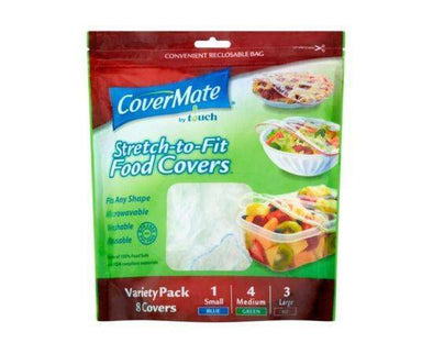 Covermate Stretch/Fit Reusable Food Covers [8 Pack]