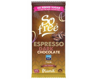 Plamil Foods Plamil So Free No Added Sugar Dark Espresso Chocolate 80g x 12