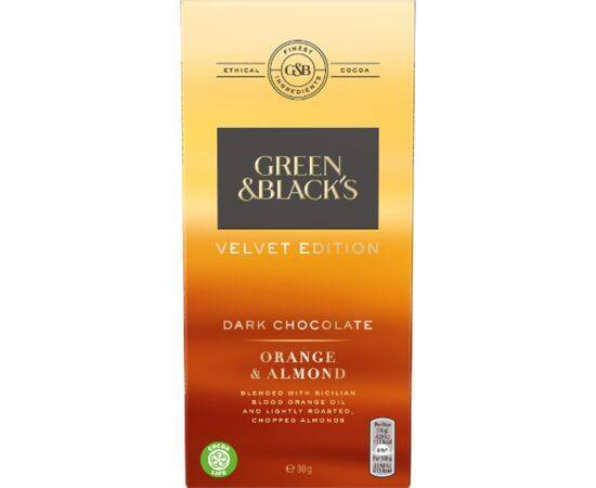 Green & Blacks Dark Velvet Bar/Orange [90g x 18]