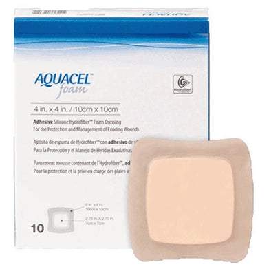 AQUACEL® Foam Adhesive Dressing Square Brown 10 x 10 cm 10 Piece per Pack