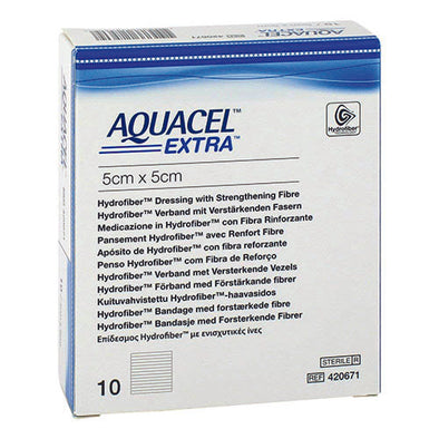 AQUACEL® AQUACEL EXTRA DRESSING SQUARE WHITE 5 X 5 CM 10 PIECE PER PACK