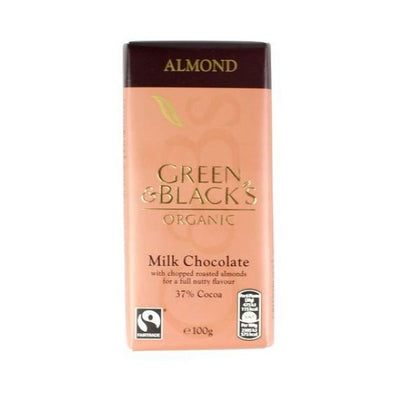 Green & Blacks Milk Chocolate Bar  Chopped Almond 100g x 15