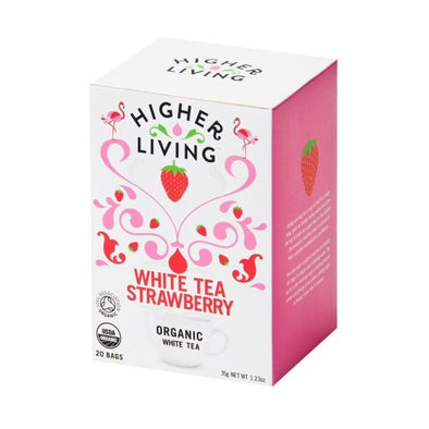 Higher Living White Strawberry Organic Tea 20 Bags x 4