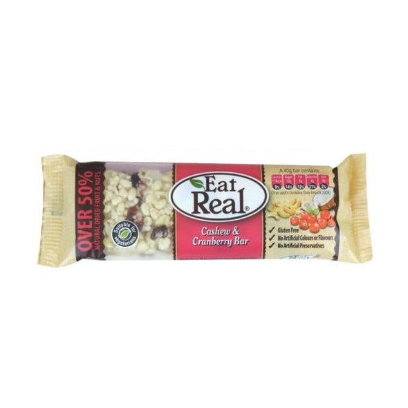 Eat Real Gluten Free Cashew & Cranberry Bar 40g x 20