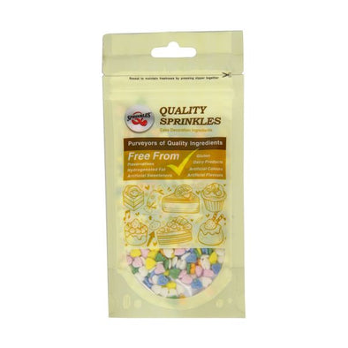 Quality Sprinkles Rainbow Multicoloured Hearts Sprinkles 65g