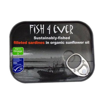 Fish 4 Ever Sardine Fillets In Organic Sunflower Oil 90g