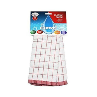 ECloth ETowel Classic Check  Assorted Single x 10