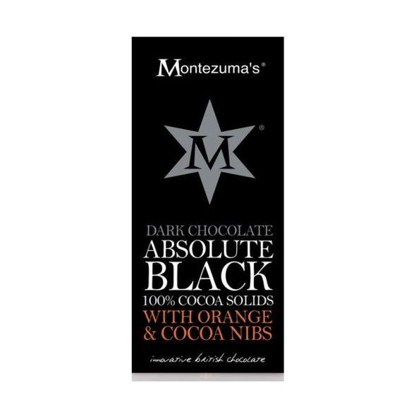 Montezumas Absolute Black 100% Cocoa Nibs & Orange Bar 100g x 12
