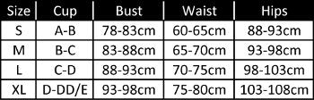 size chart for geo swimsuit