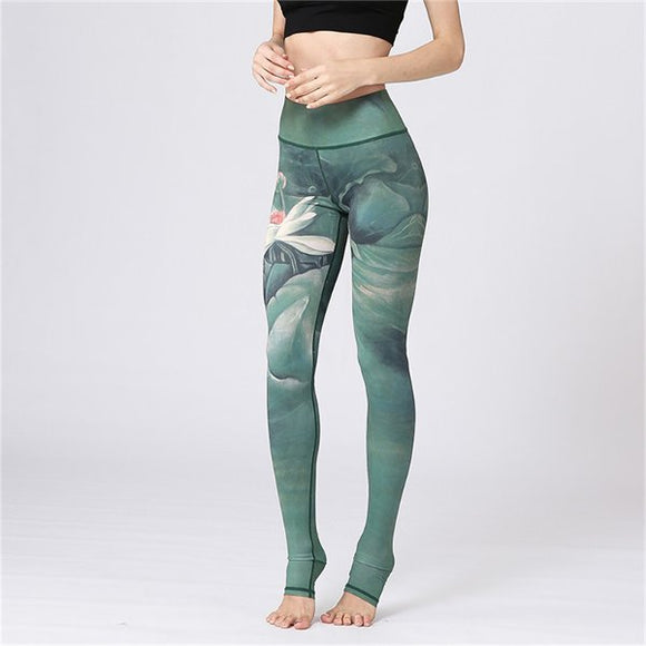 Lotus Flower Print Green Leggings