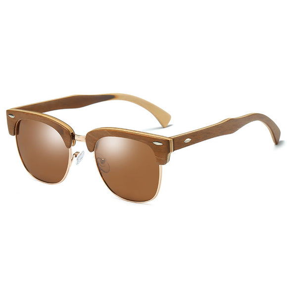 EZREAL Wood Framed Semi-Rimless Sunglasses