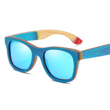 EZREAL Blue Wood Framed Sunglasses