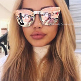 HBK Rose Gold Sunglasses Women Skull Mirror Diamond Brand Designer Metal Frame Sun Glasses Mirror Flat Lens Lunettes de soleil