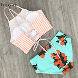 High Neck Mid-Waist Flower Print Two Piece Swimsuit