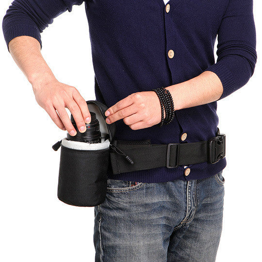 Padded Lens Holder Pouch Holder and Adjustable Strap Belt