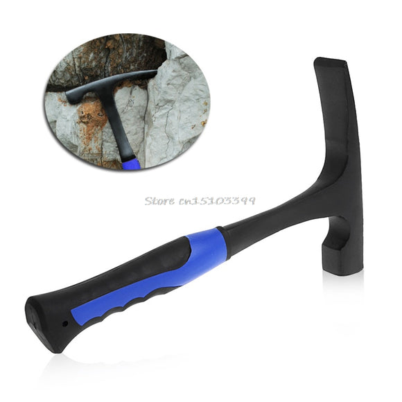 Geological Hammer & Rock Pick With Flat Tip Shock Reduction Grip