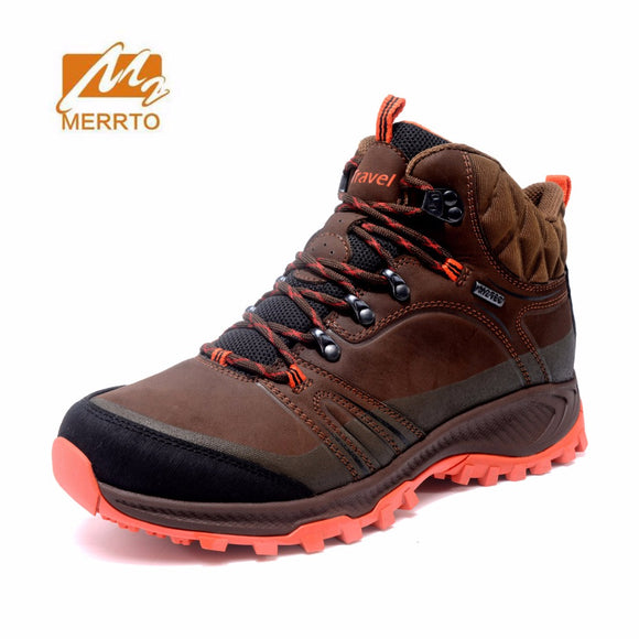 MERRTO Mens Outdoor Leather Waterproof Hiking Trekking Boots
