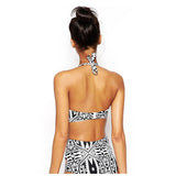 Women's Black and White Print Swimsuit