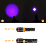 LED UV Flashlight Purple Violet Light Zoomable Focus UV 395nm Torch Lamp Lanterna For Marker Checker Cash Detection