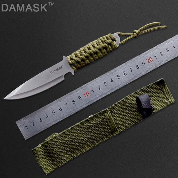 DAMASK Stainless Steel Fixed Blade Knife (3.5-Inches) With Nylon Sheath