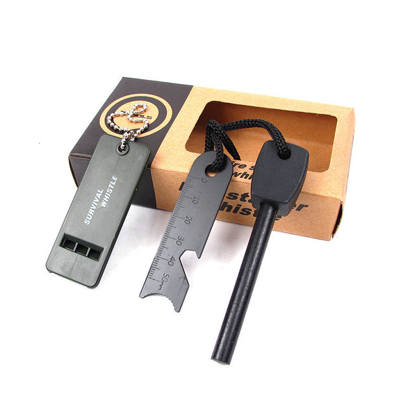 5-in-1 Magnesium Fire Starter Ferro Rod with Survival Whistle