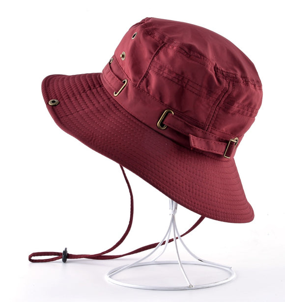 Wide Brimmed Bucket Hat with Adjustable Strap