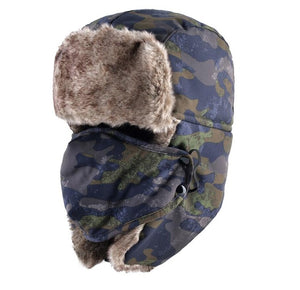 Camouflage Faux Fur Trapper Hat with Ear Flaps