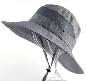 Wide Brimmed Bucket Hat with Mesh Panel