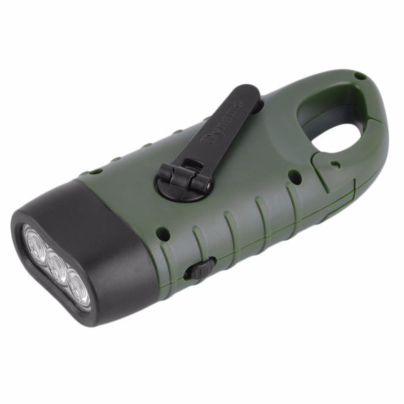 Hand Held Crank Powered Rechargeable LED Flashlight