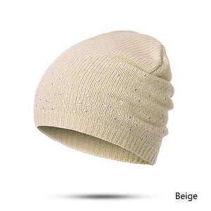 Soft Knitted Beanie Hats with Rhinestone Patterns