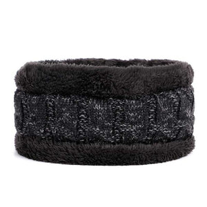 Winter Knitted Wool Beanie & Tube Scarf Set Fur-lined