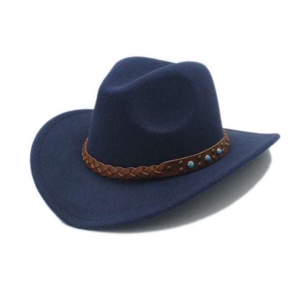 Wool Felt Cowboy Hat with Leather Band and Turquoise Stones