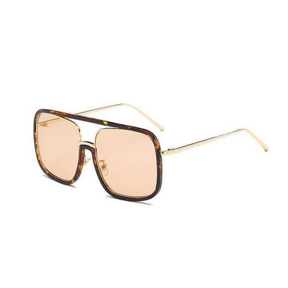 Oversized Square Vintage Flat Top Sunglasses