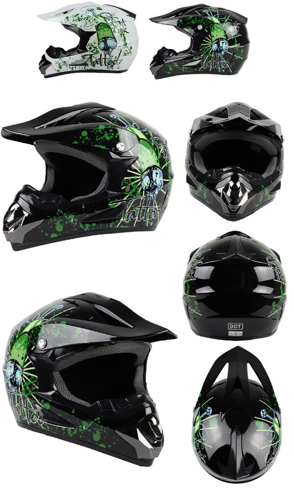 Green Tattoo Motorcross Racing Helmet