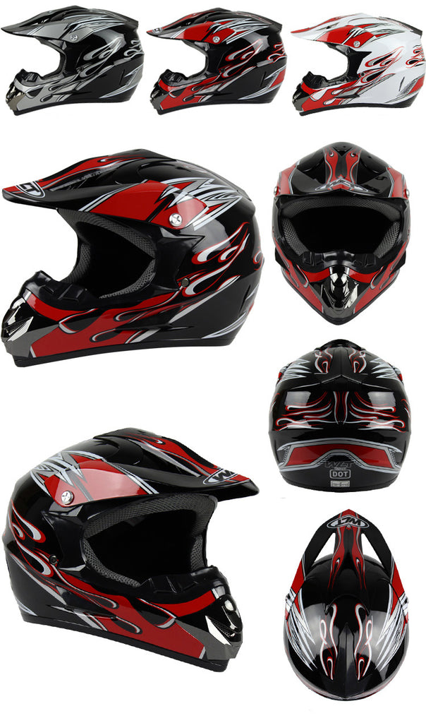 Red Flame Motorcross Helmet