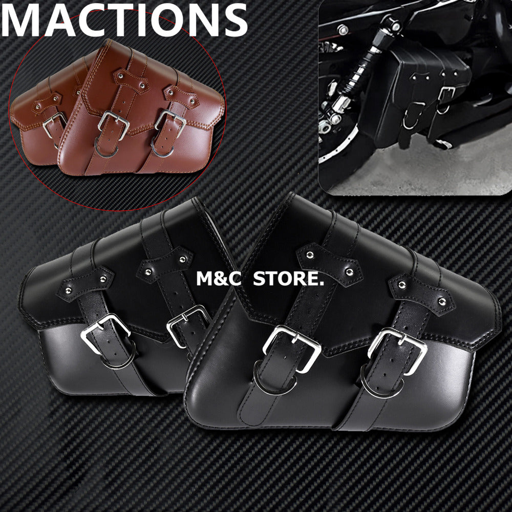 4016771660b7 Universal Motorcycle PU Leather Saddle bags One Pair Black Brown Side Tool  Bag Luggage For Harley Sportster XL 883 1200