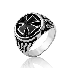 Cross Ring Retro Signet Rings - MOTORCYCLES CLUB.NET