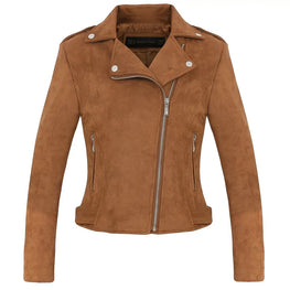 Womens Suede Motorcycle Jacket Slim Brown full lined soft faux Leather - MOTORCYCLES CLUB.NET