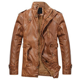 Mens Leather Motorcycle Biker Jackets Standing Collar - MOTORCYCLES CLUB.NET