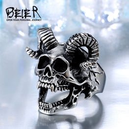 Stainless Steel Goat Head Skull - MOTORCYCLES CLUB.NET