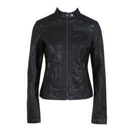 Womans Black Leather Motorcycle Jacket Soft Faux Leather - MOTORCYCLES CLUB.NET