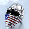 American Flag Stainless Steel Skull Ring - MOTORCYCLES CLUB.NET