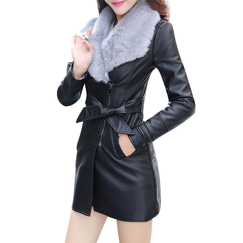 Soft Fur Collar Leather Coat Jacket With Comfy Fur Inside - MOTORCYCLES CLUB.NET